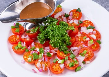 Cherry tomatoes with Crimean onions and fresh herbs