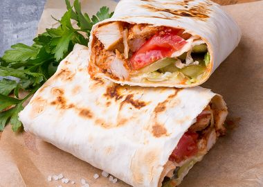 Doner-kebab with chicken skewers