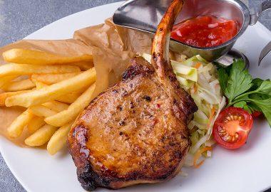 Grilled pork on bone