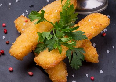 Breaded and fried cheese