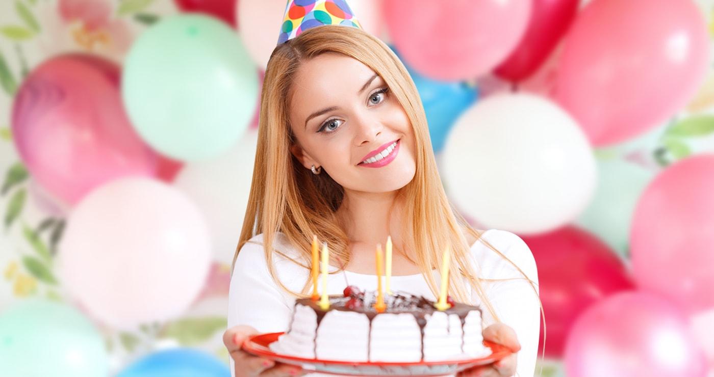 Картинка с днем рождения девушка в торте, сделать